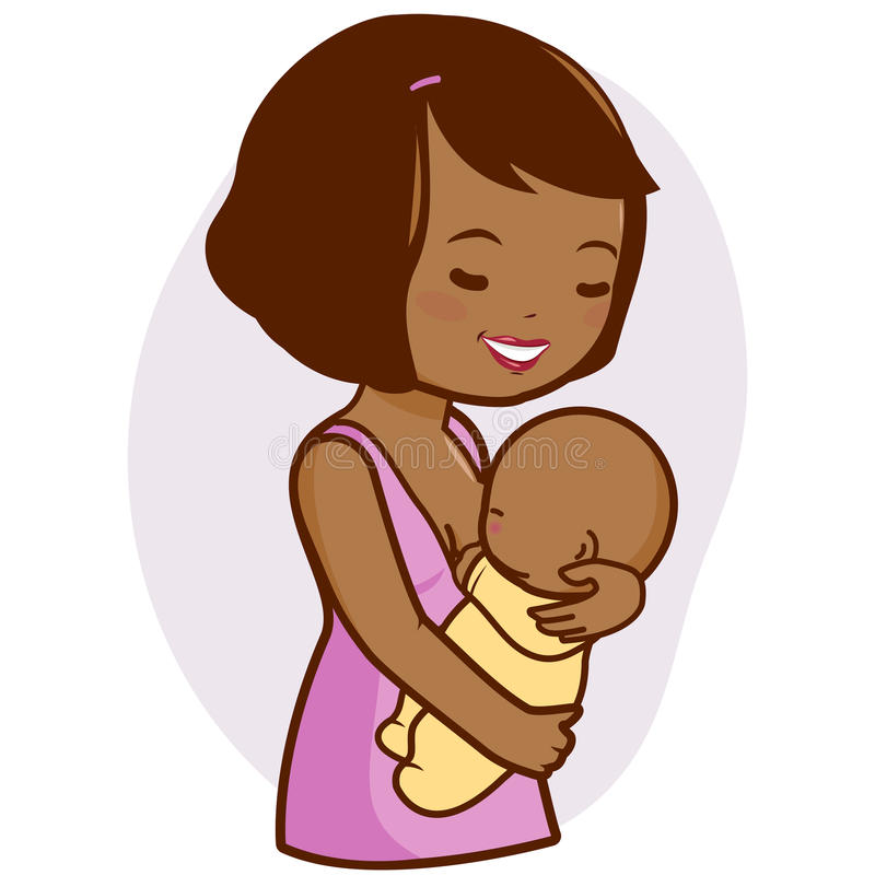 African mother breastfeeding her baby. African American mother nursing her newborn baby royalty free illustration