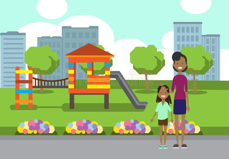 African mother and daughter full length avatar over city park children playground flowers green lawn trees template. Cityscape background flat vector stock illustration