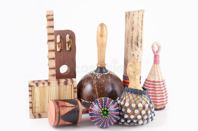 African musical instruments. Collection of different African musical instruments stock image