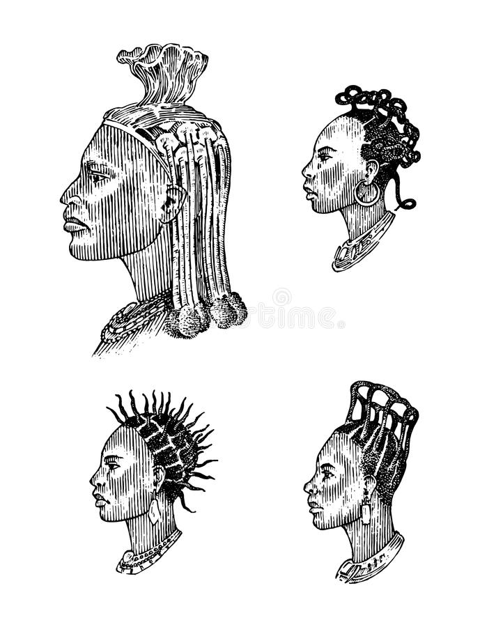 African national male hairstyles. Profile of a man with curly hair. Different Afro Dreadlocks. Ancient faces of people stock illustration
