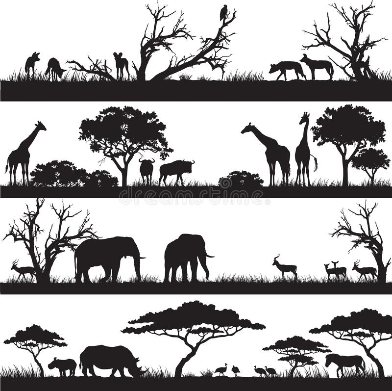 African nature silhouettes royalty free illustration