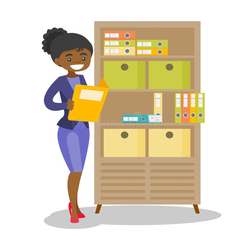 African office worker working with documents. African office worker working with legal documents. Young office worker standing next to the cupboard with folders vector illustration