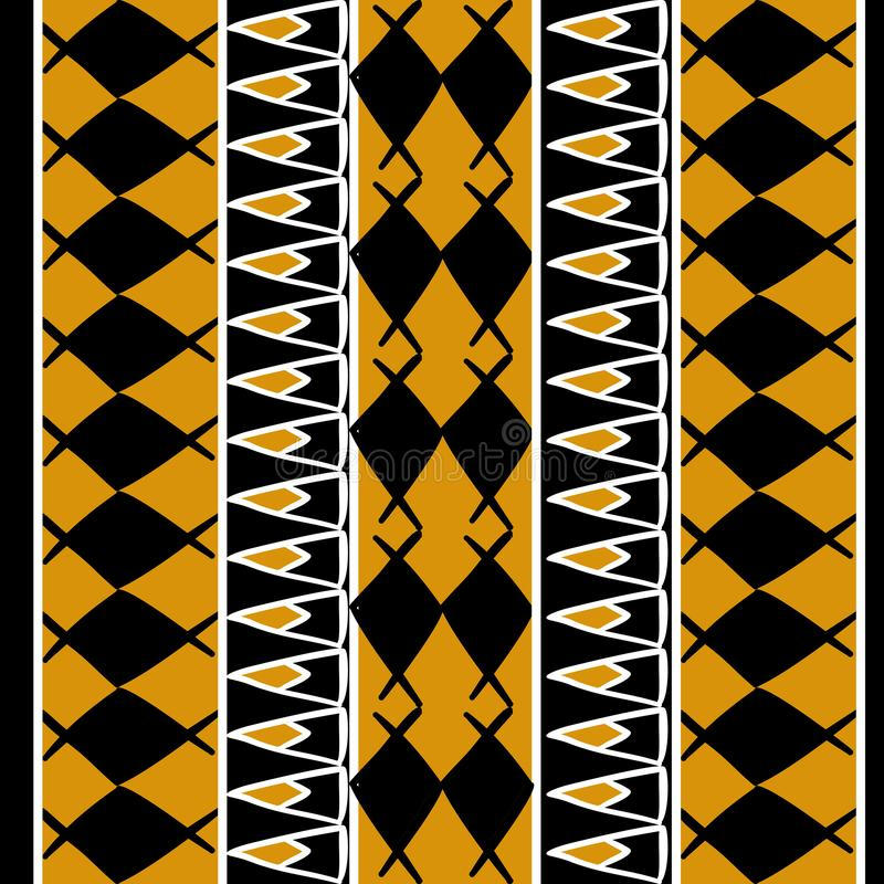 African pattern vector with hand drawn tribal ethnic drawing with gold colors. Seamless design illustration for fashion textile vector illustration