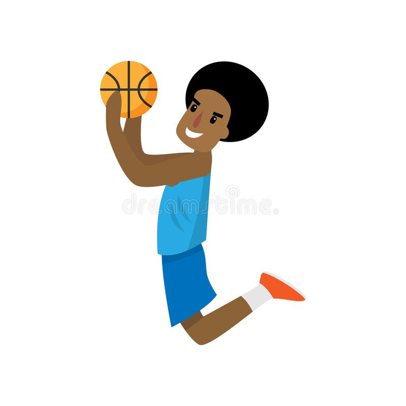 African player jump high to throw ball in basket royalty free illustration