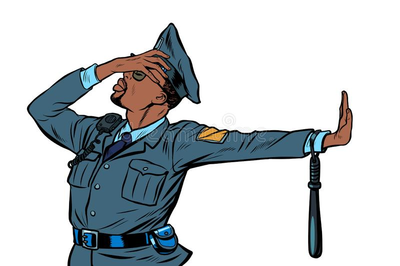 African Police officer. Gesture of denial, shame. Pop art retro vector Illustrator vintage kitsch drawing stock illustration