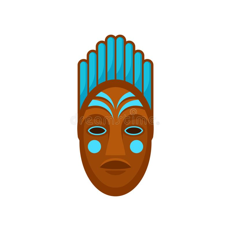 African or polynesian mask painted with blue color. Ethnic symbol of voodoo people. Flat vector for banner or poster of vector illustration