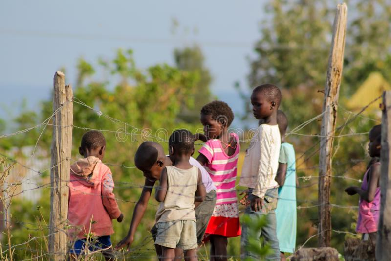 African poor children on the street near fence. African small poor children boys and girls on the street. Slum african people village life royalty free stock photos