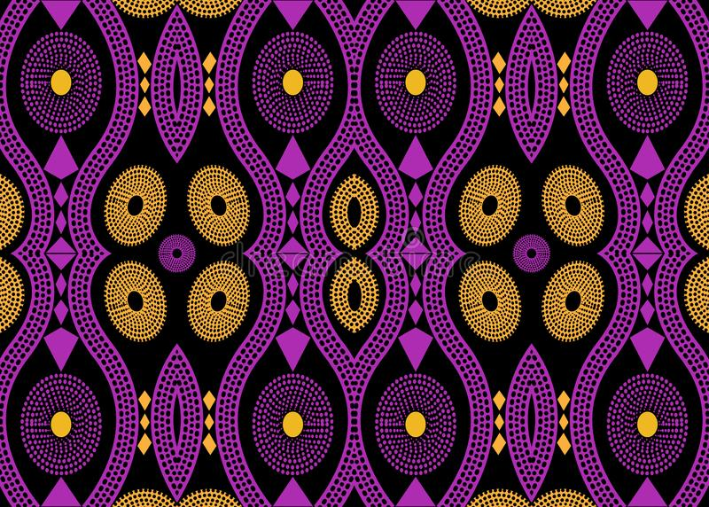 African Print fabric, Ethnic handmade ornament for your design, Ethnic and tribal motifs geometric elements. Vector afro texture royalty free illustration