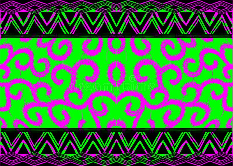 African Print fabric, Ethnic handmade ornament for your design, tribal pattern motifs anthropomorphic elements. Vector texture. Afro textile Ankara fashion stock illustration