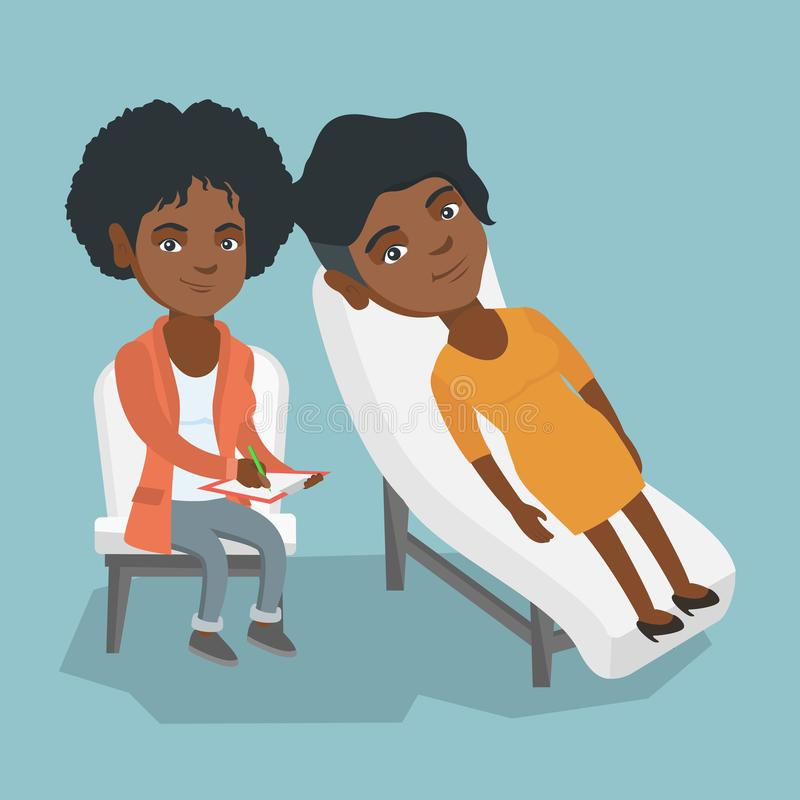African psychologist having session with a patient. Young african-american patient lying on the sofa and talking about problems with psychotherapist or royalty free illustration