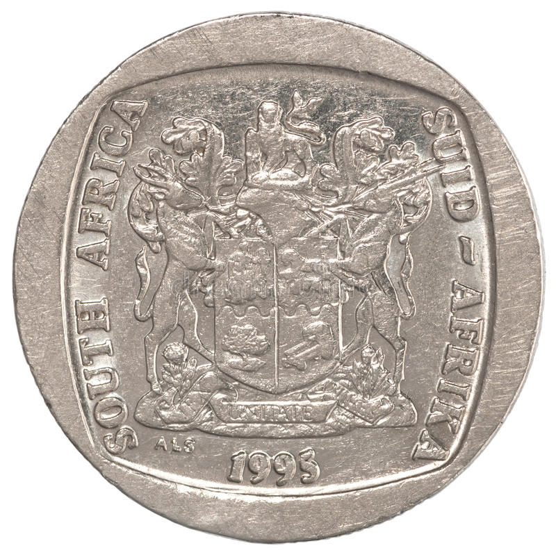 African rands coin. Five south african rands coin with the image of the coat of arms isolated on white background royalty free stock images