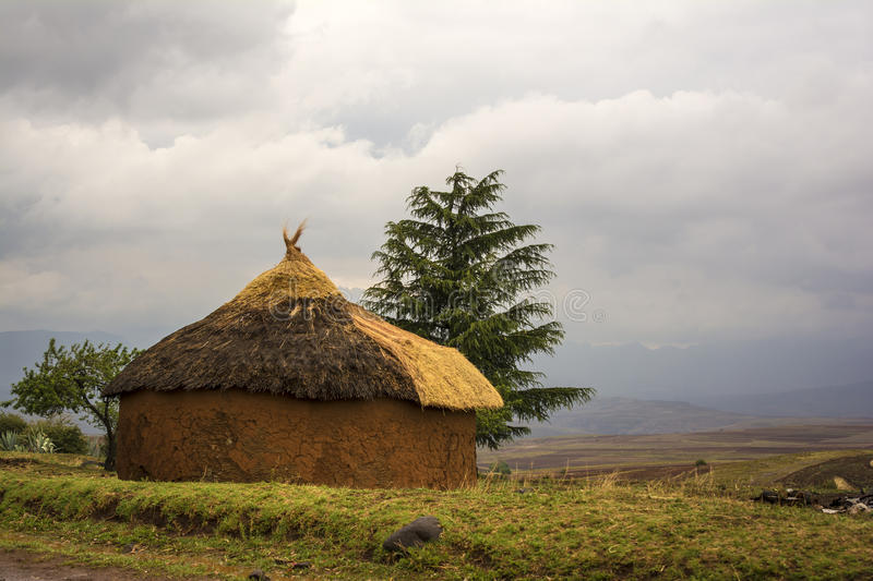 African round hut, Lesotho royalty free stock photography