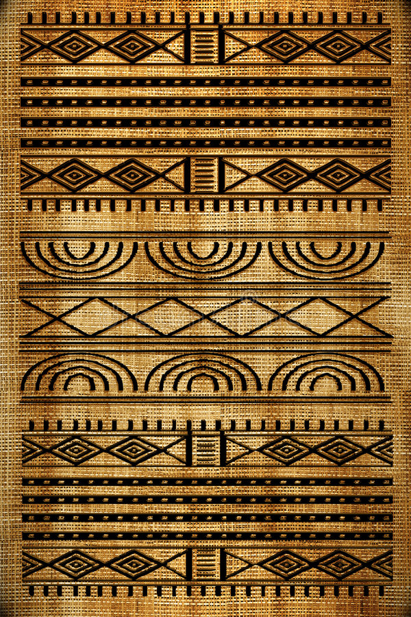 African rug. Old canvas texture with african drawing
