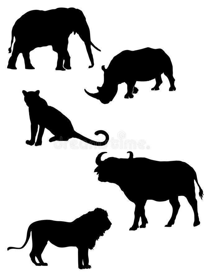 African S Big Five Silhouettes Stock Image
