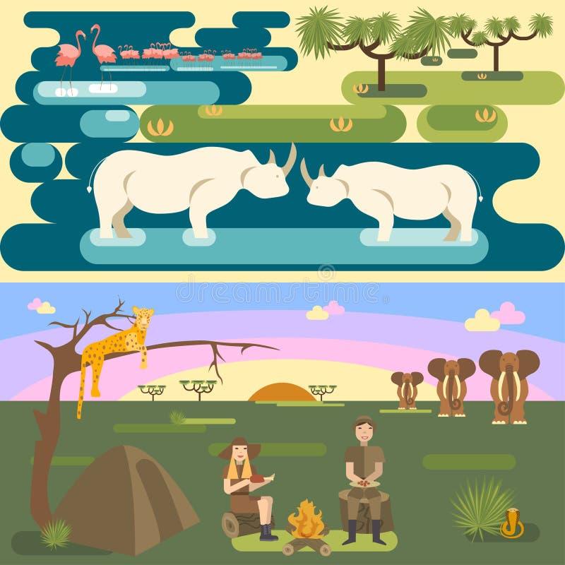 African safari concept set. With people and animals, flamingo, rhino, leopard, elephant, snake. Flat eps10 vector illustration vector illustration