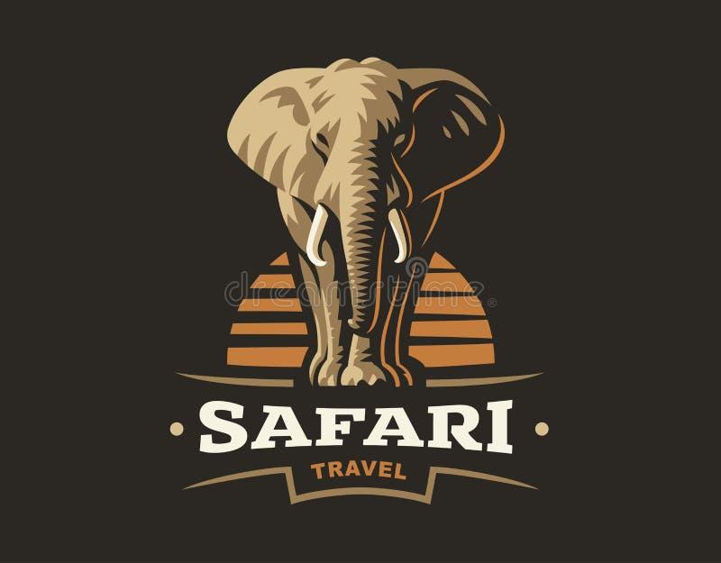 African safari elephant logo - vector illustration, emblem on dark background royalty free illustration