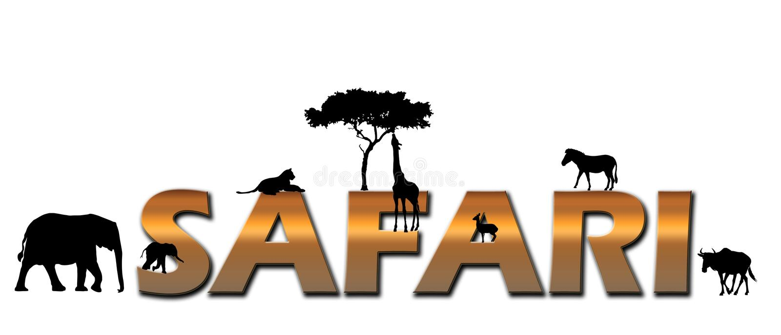 African Safari logo. Logo spelling out safari with animals surrounding the letters. Animals: Elephant mother and calf, Lioness, Giraffe eating from a acacia tree
