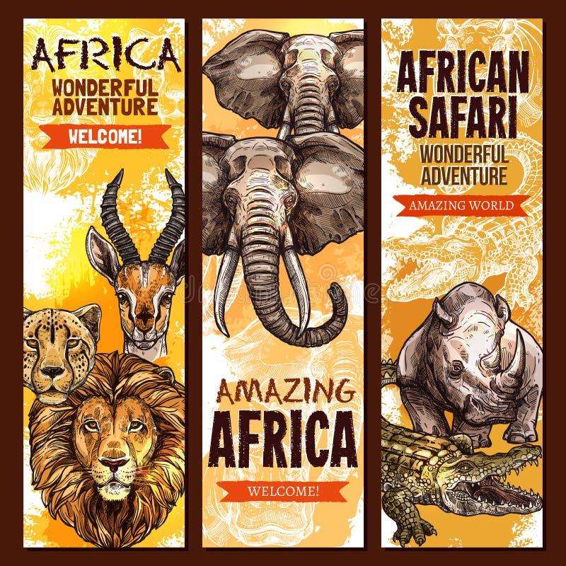 African safari outdoor adventure sketch banner set royalty free illustration