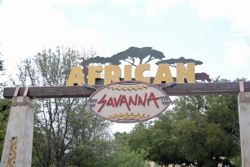 African Savanna at the Fort Worth Zoo, Fort Worth, Texas. The Fort Worth Zoo is a zoo in Fort Worth, Texas, United States, that was founded in 1909 with one lion royalty free stock photography