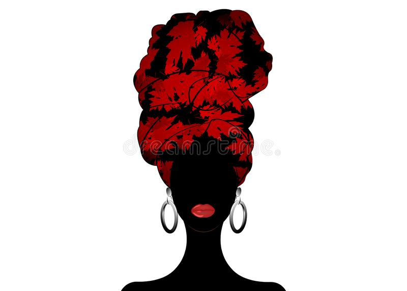 African scarf, portrait Afro woman in a red leaves turban. Tribal Wrap fashion, Ankara, Kente, kitenge. Nigerian style dresses. African scarf, portrait Afro royalty free illustration