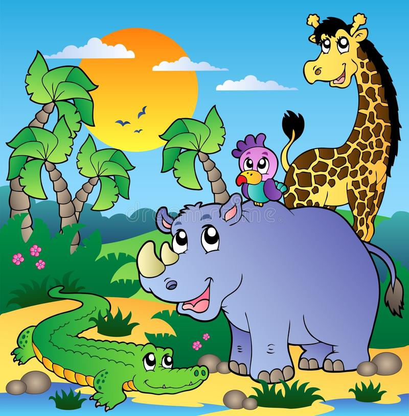 African scenery with animals 3. Illustration stock illustration