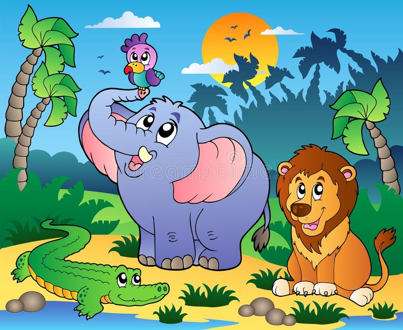 African scenery with animals 4. Illustration royalty free illustration