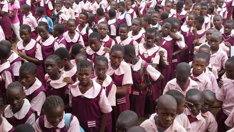 African school children. African children in a school in Nigeria. Government owned schools are crowded with students stock image