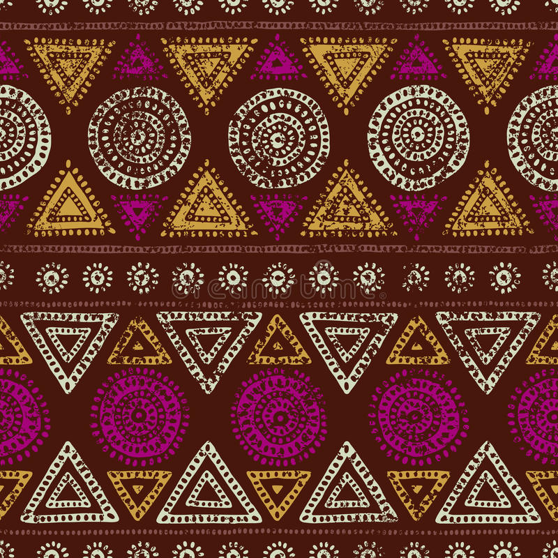 African seamless print. Grunge texture. Vintage ornament. Tribal stock illustration