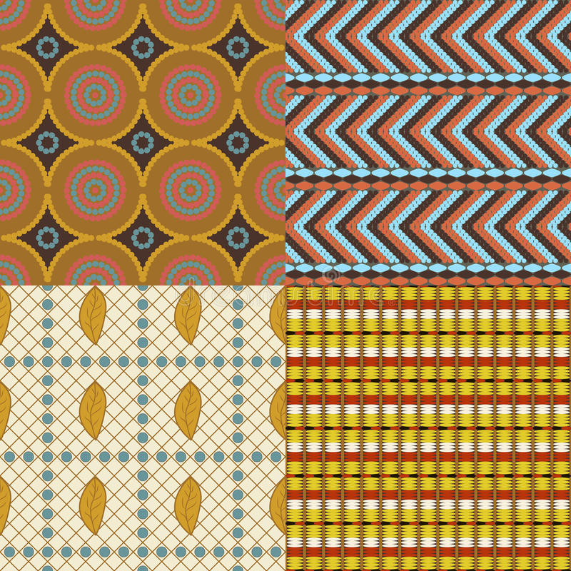 African set of 4 seamless patterns. With different elements vector illustration