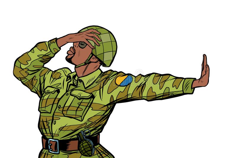 African soldier in uniform shame denial gesture no. anti militarism pacifist. Pop art retro vector Illustrator vintage kitsch drawing royalty free illustration