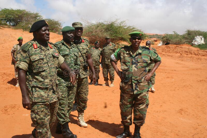 African soldiers in field royalty free stock photo