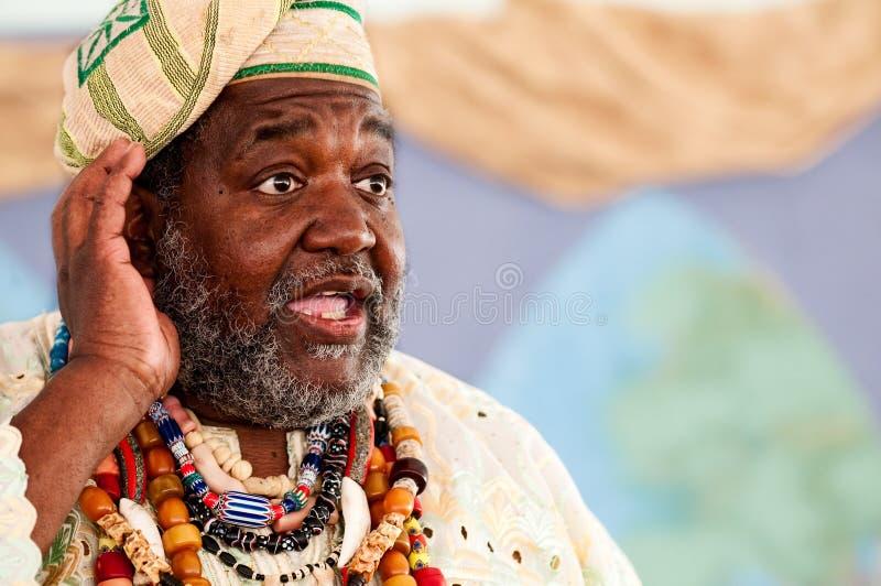 African storyteller speech. Portrait of African Storyteller giving a speech stock image
