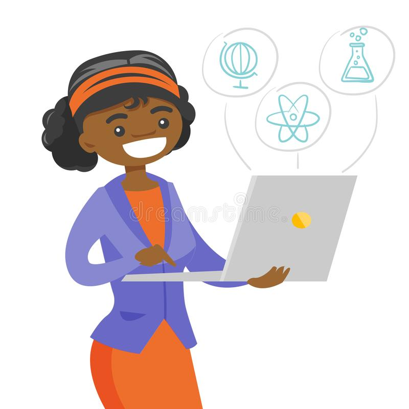 African student working on a laptop computer. African-american student working on a laptop computer connected with icons of school sciences. Education and stock illustration