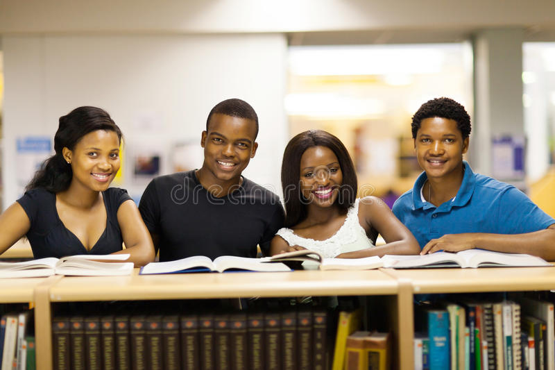 African students library royalty free stock photos