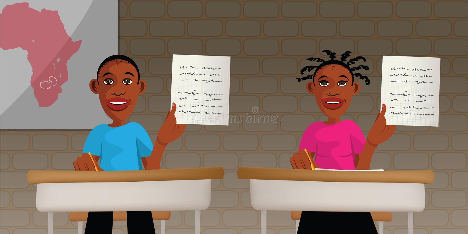 African students at school vector illustration