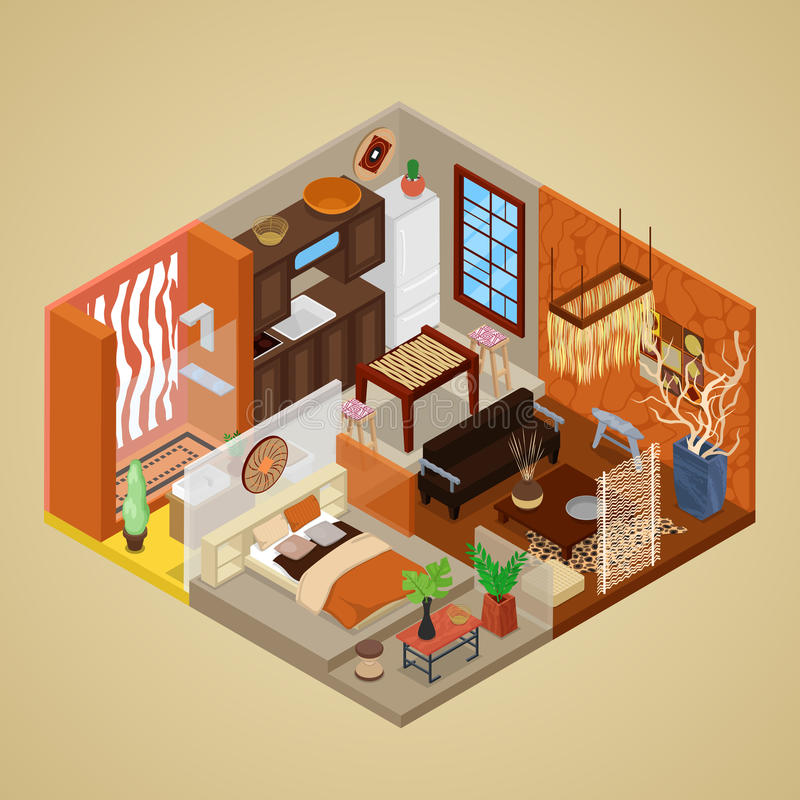 Download African Style Interior Design With Living Room And Kitchen.  Isometric Flat 3d Illustration Stock