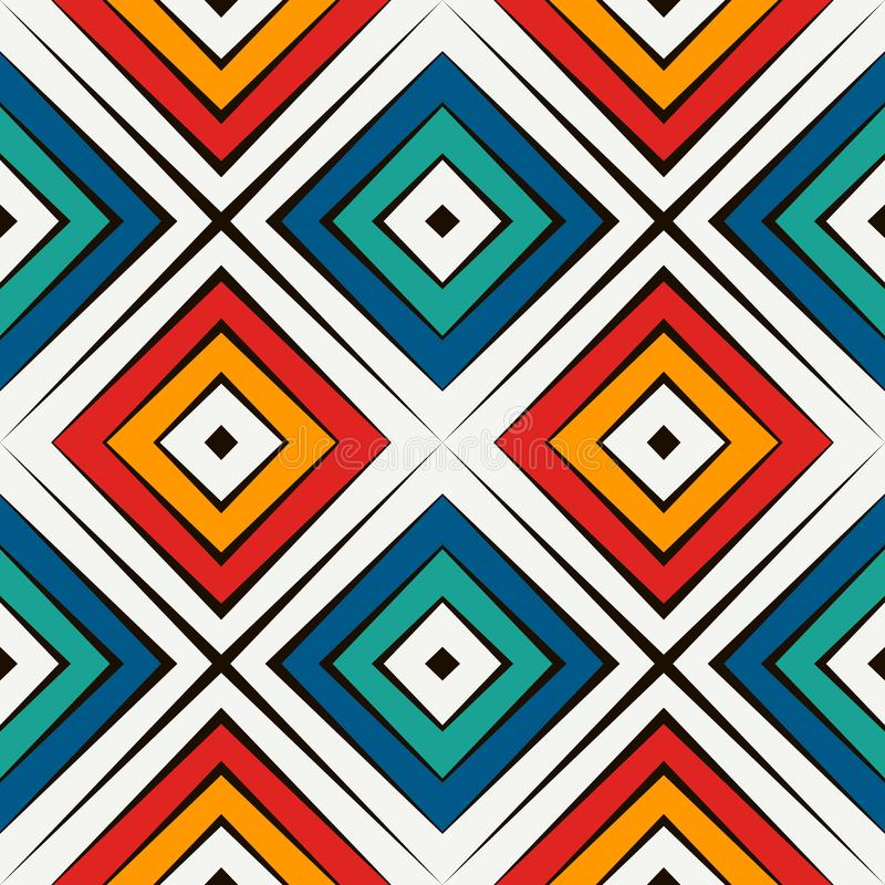 African style seamless pattern in bright colors. Ethnic and tribal motif. Repeated rhombuses abstract background. vector illustration