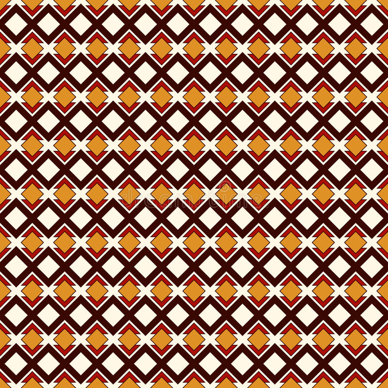 African style seamless pattern with geometric figures. Repeated diamond ornamental abstract background. Ethnic motif. royalty free illustration
