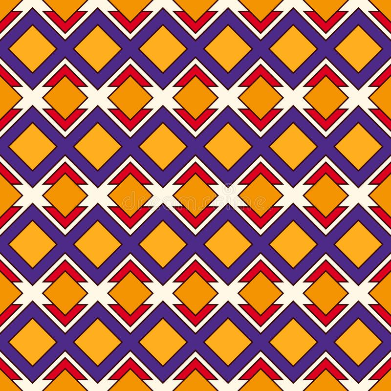 African style seamless pattern with geometric figures. Repeated diamond ornamental background. Ethnic and tribal motif royalty free illustration