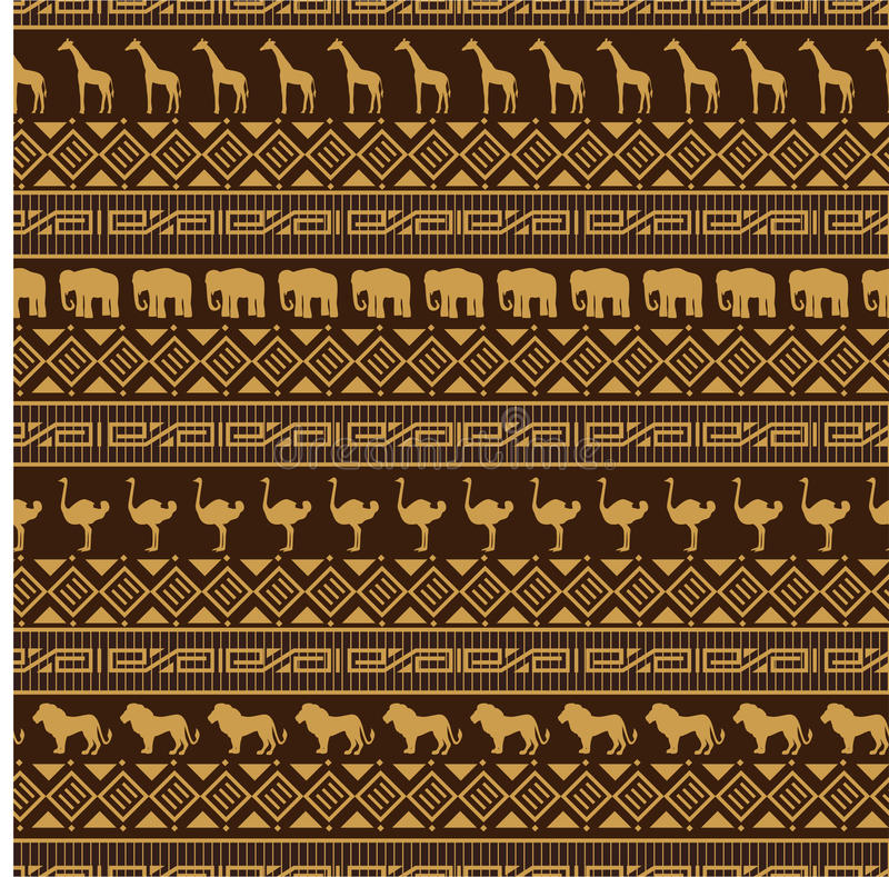 African style seamless pattern with wild animals. vector illustration