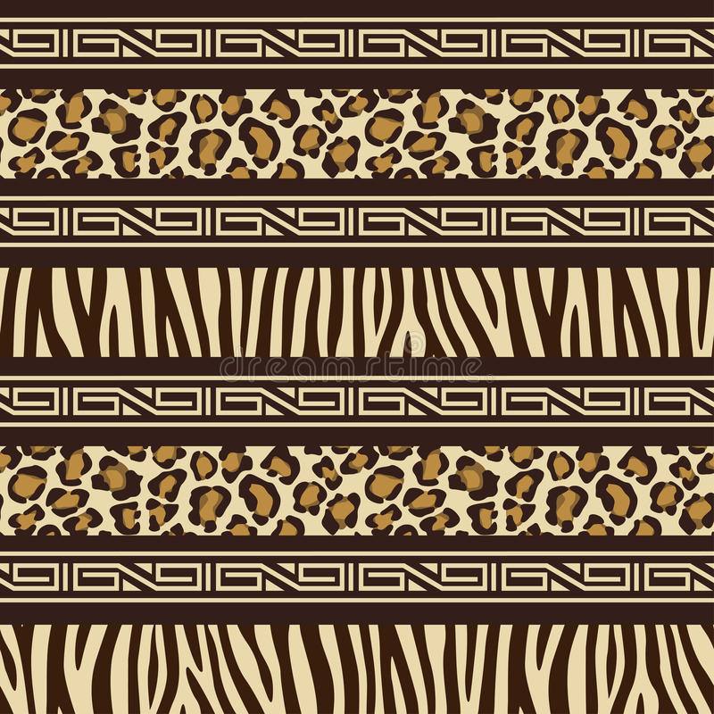African style seamless pattern with wild animals s vector illustration