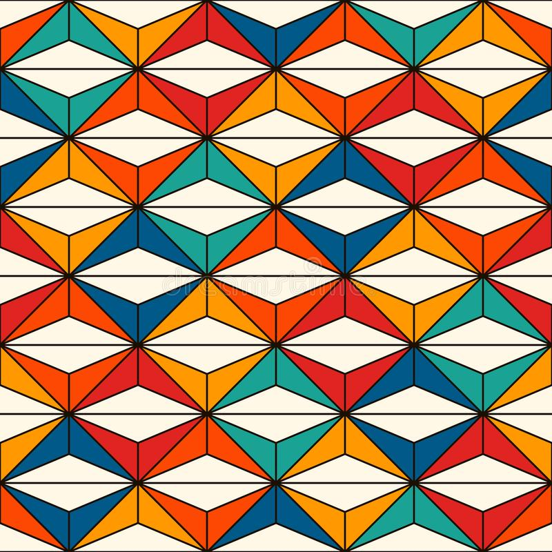 African style seamless surface pattern with abstract figures. Bright ethnic print. Geometric ornamental background royalty free illustration
