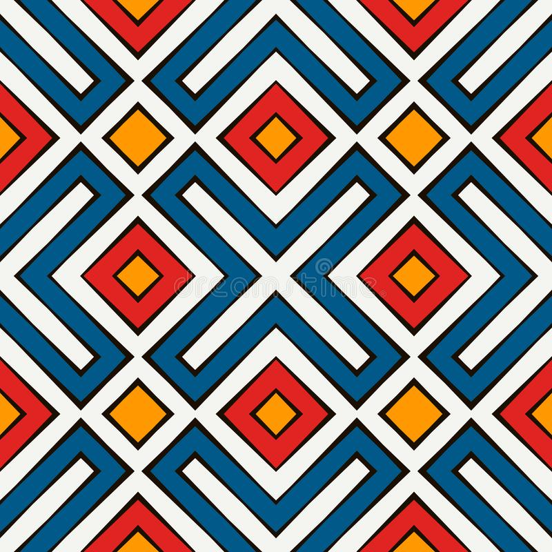 African style seamless pattern in bright colors. Ethnic and tribal motif. Repeated rhombuses abstract background. royalty free illustration