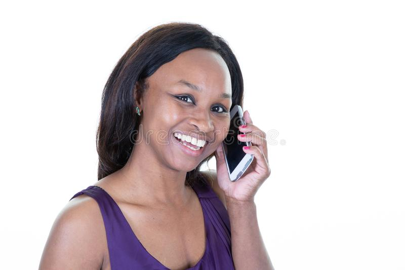 African stylish woman using smart phone stock photography