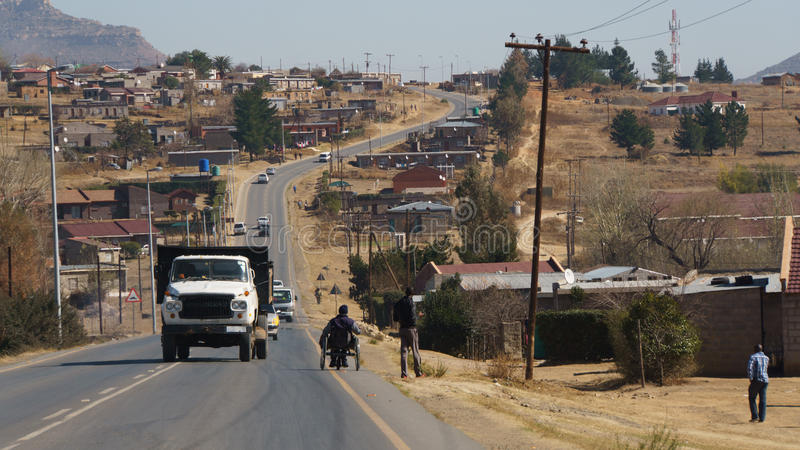 African suburb with old truck royalty free stock photos