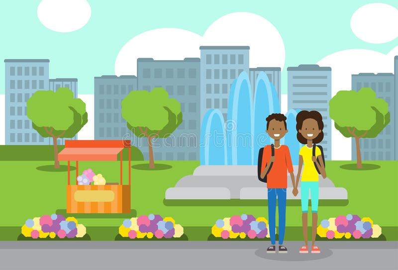 African teenager boy girl couple in love, portrait avatar over city park ice cream fountain flowers green lawn trees. Template background flat vector royalty free illustration