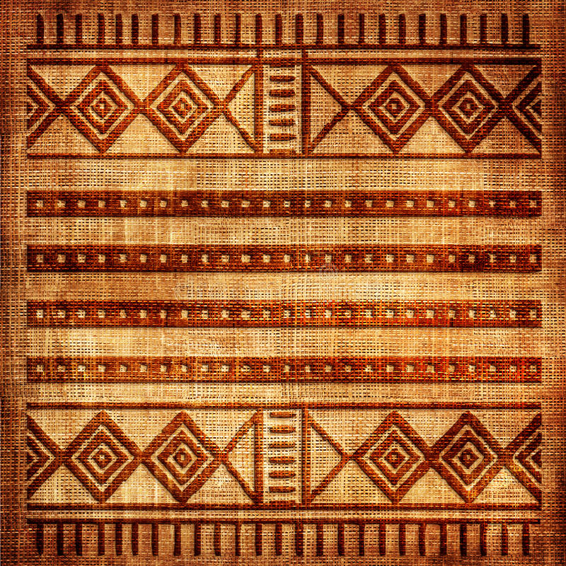 African texture. Old canvas texture with african ornament stock photography
