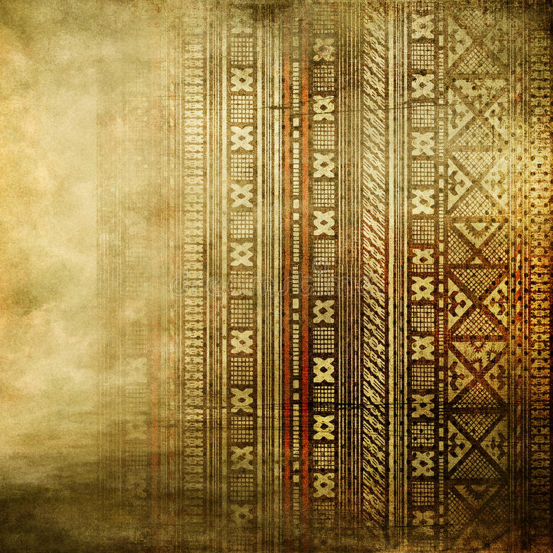 African texture in golden colors. Old canvas texture with african ornament royalty free stock photography