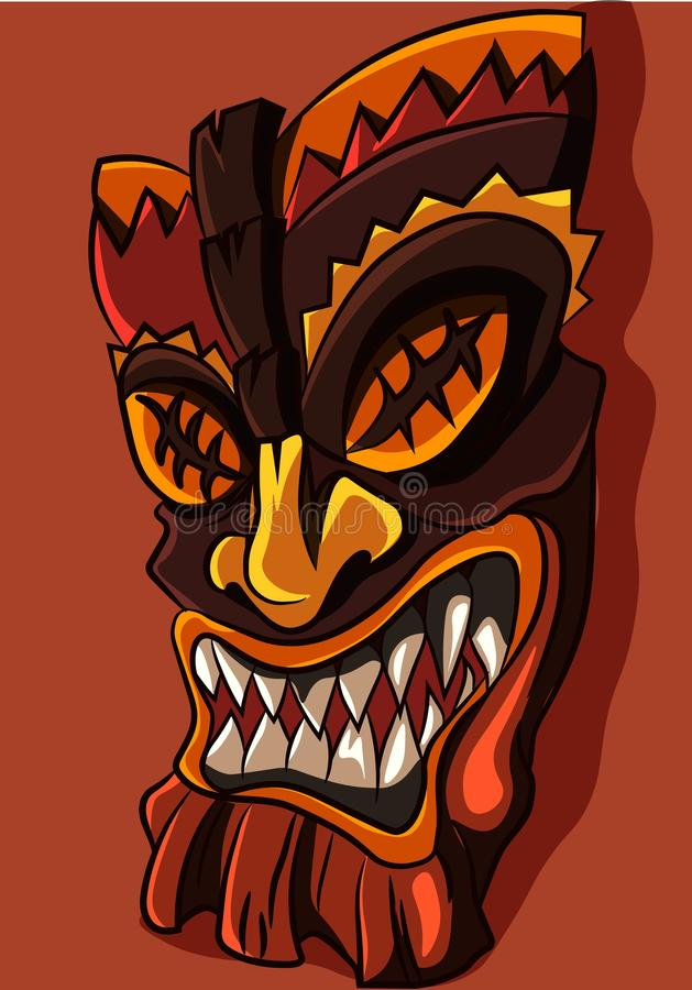African tiki aztec mask with sharp teeth and earth tone colors. Souvenir from Africa, traditional ceremonial wooden decoration. royalty free illustration