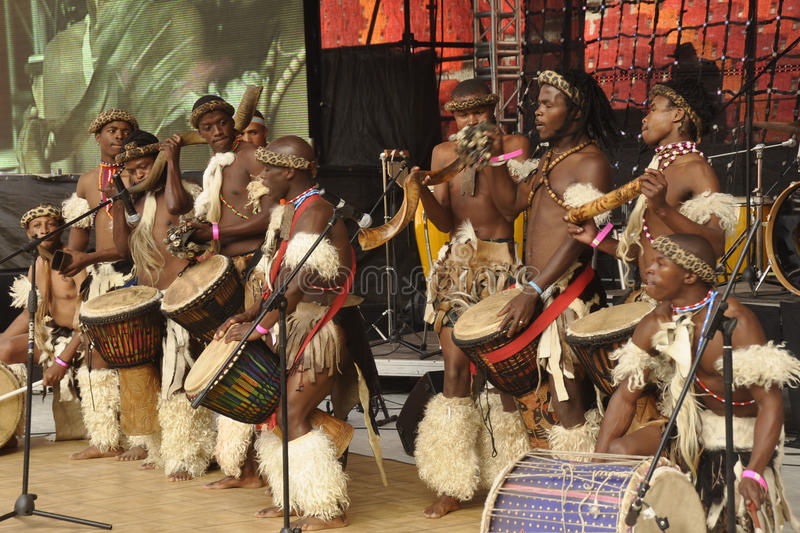 African traditional dancers. Performing at the opening of the nelson mandela bay staduim at North end in Port elizabeth on the 7 June 2009 stock photography